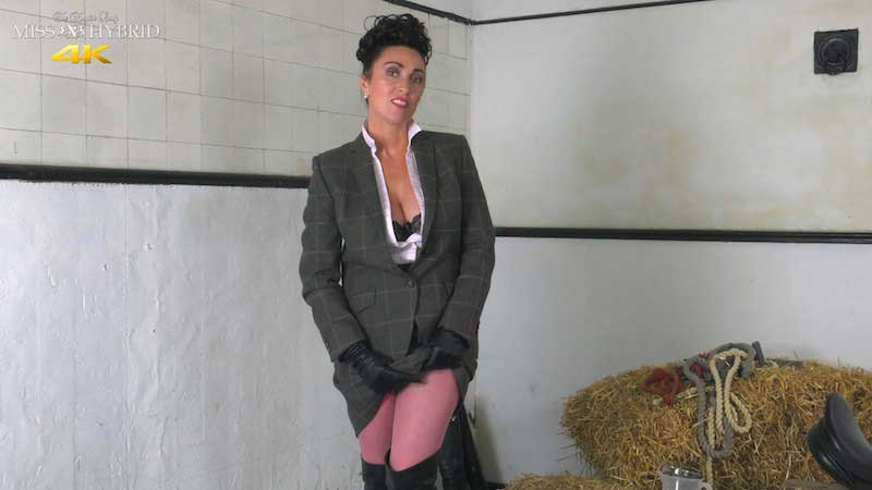 Miss hybrid beautiful sexy strict mistress in leather and Tweed.