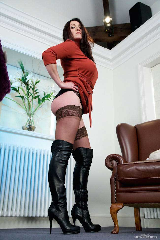 Miss Hybrid thigh high leather boots and stocking tops.