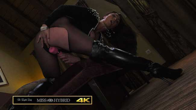 Miss Hybrid giantess mistress ripped pantyhose and Magic Wand.