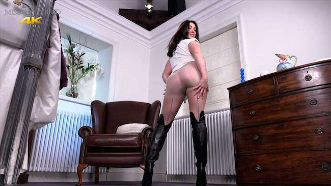 Miss Hybrid Leather Thigh Boots And Pantyhose