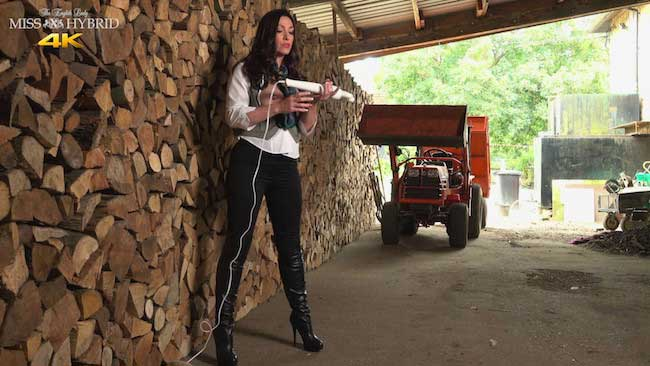 Miss Hybrid Nipple Rings, Boots And Jodhpurs