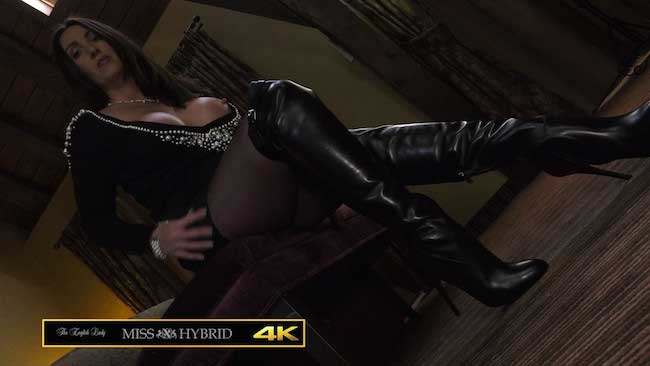 Miss Hybrid giantess mistress leather thigh boots and pantyhose.