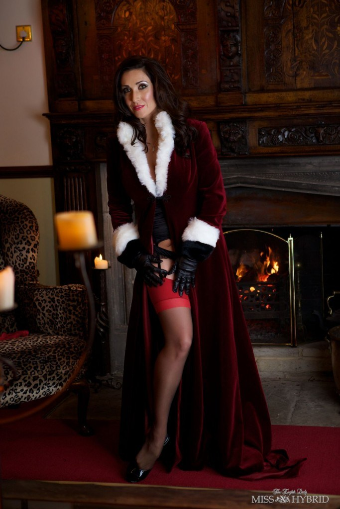 Miss Hybrid Christmas stockings and nylons handjob.