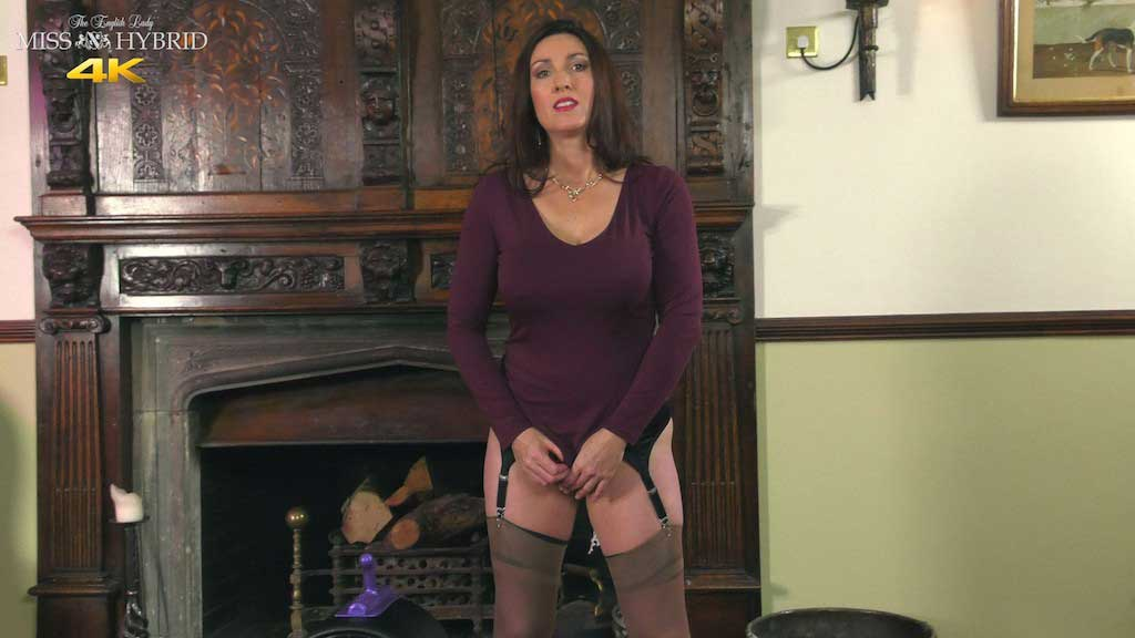 Miss Hybrid staff interview big tits stockings and Sybian.
