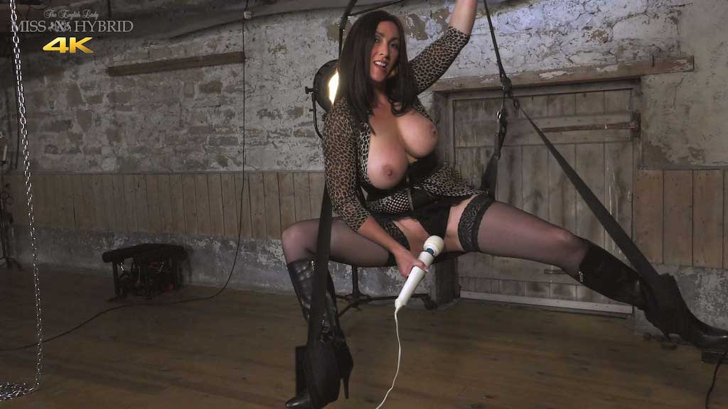 Dungeon sexy swing, Miss Hybrid boots, stockings and Magic Wand.