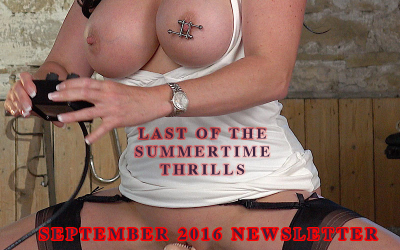 Miss Hybrid Free September Newsletter big tits and nipple clamps riding the Sybian.