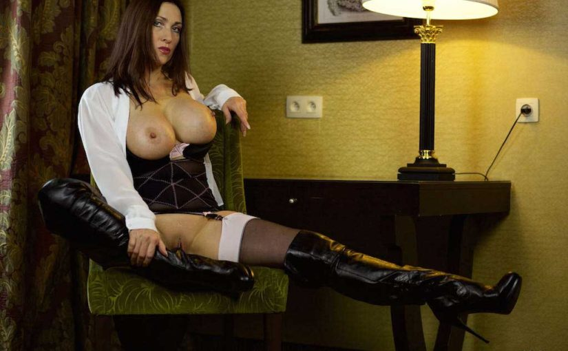 Thigh High Leather Boots Stockings And Suspenders